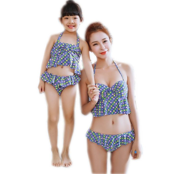 Family Matching Outfits 2016 New Mother & Kids Daughter Summer Bikini Sets Mon and Me Dress Clothes Girls Family Outfits Look