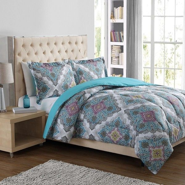 Paisley Medallion 3-Piece Comforter Set in Blue ($30) ❤ liked on Polyvore featuring home, bed & bath, bedding, comforters, king size comforter set, king pillow shams, oversized king comforters, blue king comforter set and twin comforter