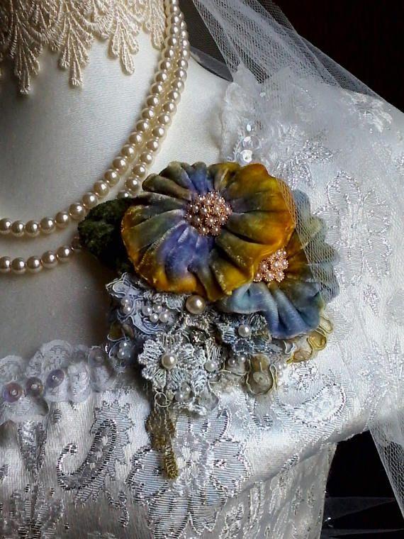 Velvet shabby brooch, corsage, hair accessory, velvet flowers, wedding, vintage, romantic, pin, handmade velvet rose, floral corsage