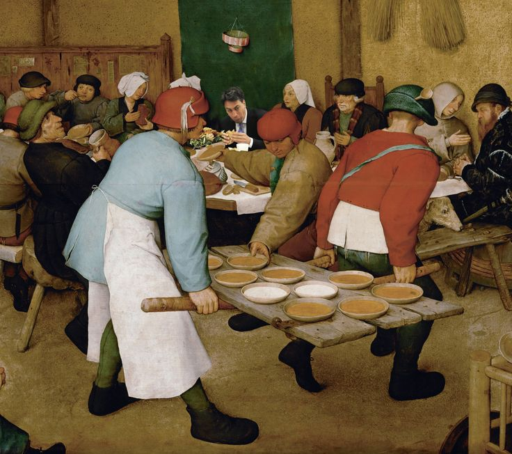 Pieter Bruegel Peasant Wedding and Ed Miliband eating a bacon sandwich
