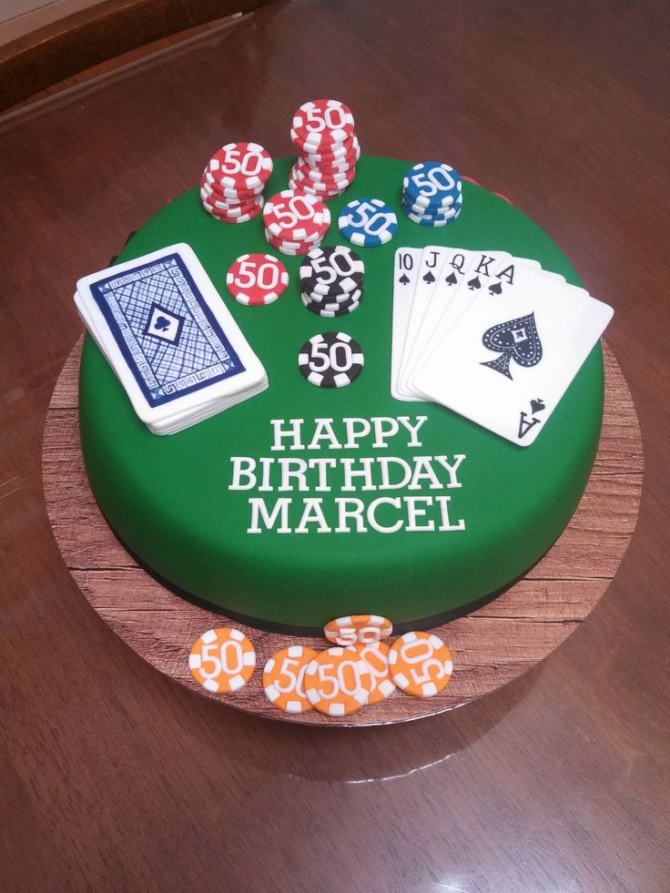 Poker Cake With Poker Chip Amp Cards For A 50th Bday In