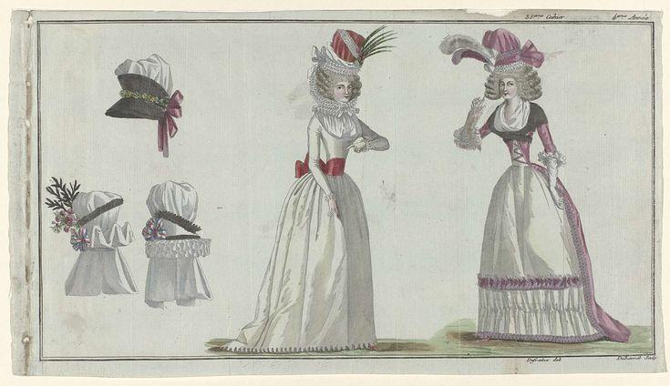 Magasin des Modes Nouvelles Françaises et Anglaises, 11 décembre 1789, Pl.  1,2 et 3, A.B. Duhamel, Buisson, 1789.