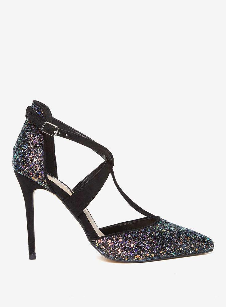 Womens Multi Coloured Glitter 'Gloria' Court Shoes- Multi Colour