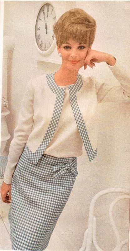 White bolero with print trimming to match A-line wool skirt. Office perfect early-mid 1960's.