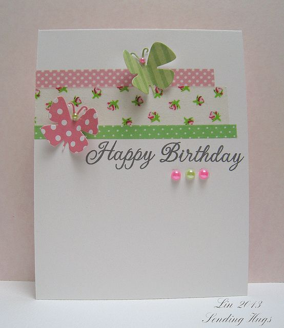 Birthday card with washi tape by quilterlin, via Flickr