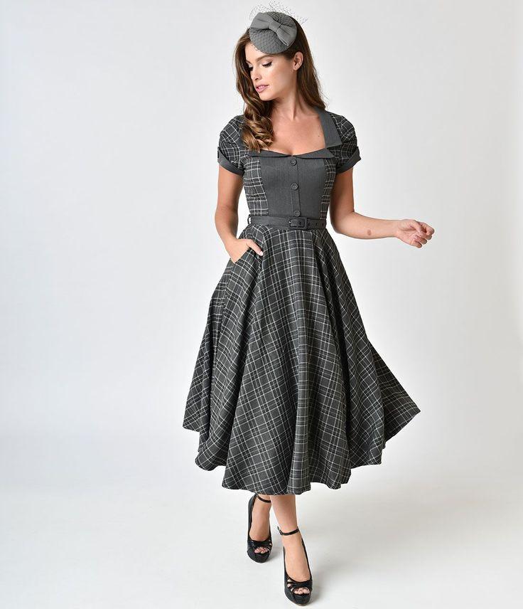500 Vintage Style Dresses for Sale Voodoo Vixen 1940s Style Grey Tartan Short Sleeve Ella Tea Dress $98.00 AT vintagedancer.com