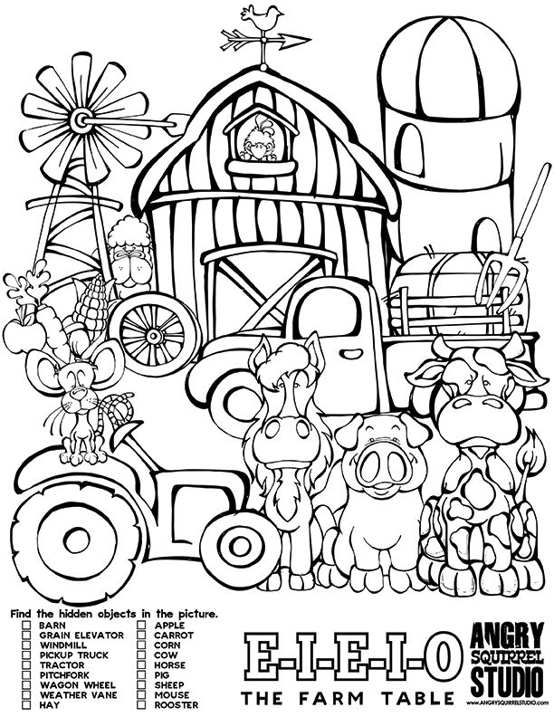 E I O Free Hidden Objects Activity Page Angrysquirrelstudio Farm Coloring