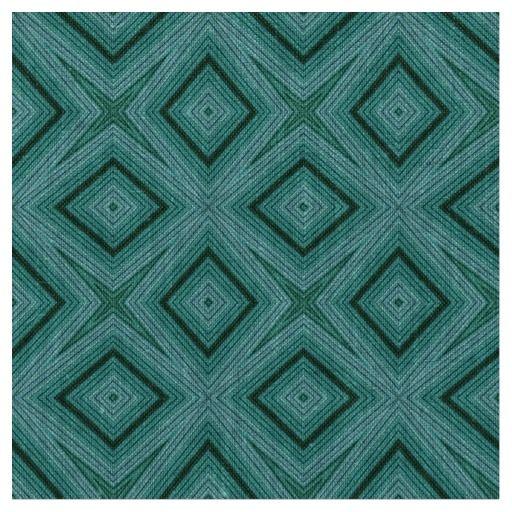 Modern geometric pattern teal blue natural linen fabric #fabric #linen #teal #geometric