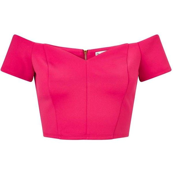 Miss Selfridge Fuchsia Scuba Bardot Crop Top (205 RON) ❤ liked on Polyvore featuring tops, fuchsia, sweetheart crop top, fitted crop top, crop top, fuschia pink top and fitted tops