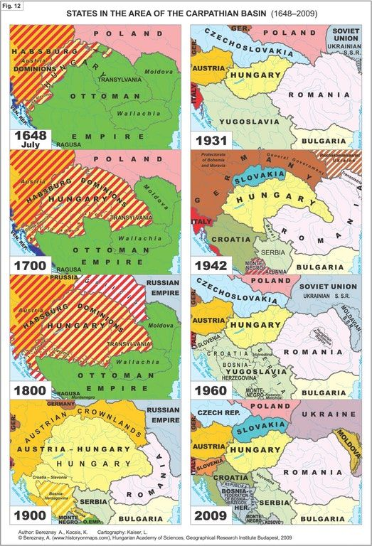 States in the area of the Carpathian Basin (1648-2009)