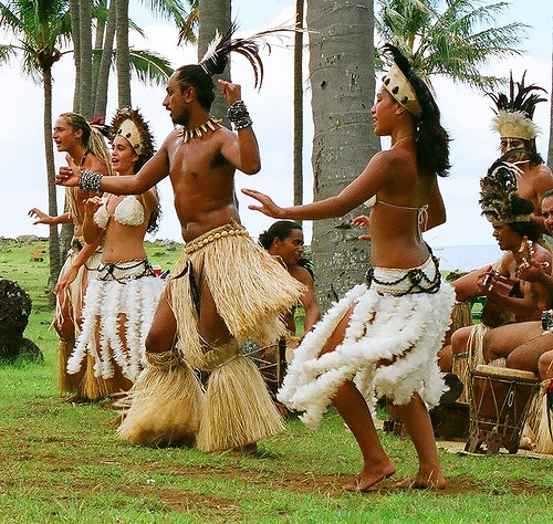 Rapa Nui dancers, the indigenous Polynesian tribe of Easter Island, Chile
