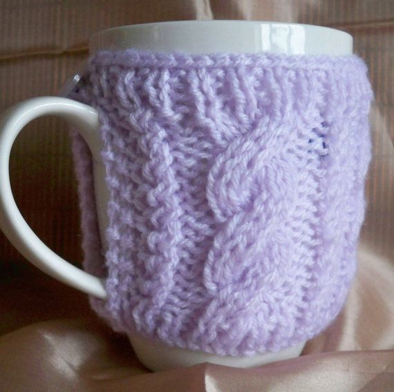 Hand knitted mug hug or cup cosy cozy warmer by RowanKnits on Etsy, £3.50