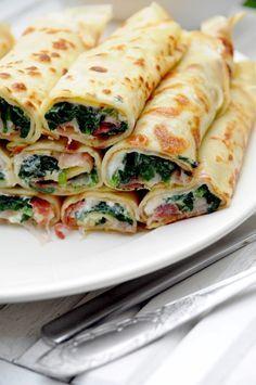 Wytrawne naleśniki. Szpinak, feta i szynka parmeńska aka Polish pancakes/crepes with spinach, feta cheese and Parma ham  (Google Translate)