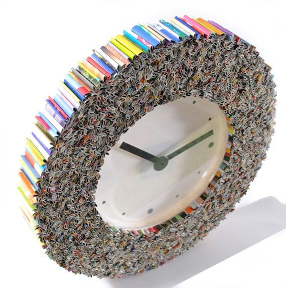 clock wall art, made from recycled magazines, colorful, unique, blue, green, red, purple, pink, yellow, orange