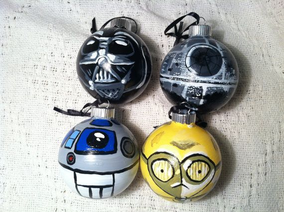 To go with my Hallmark Star Trek ornaments.    Star Wars Glass Ornament set by NerdFreakinTastic on Etsy, $40.00