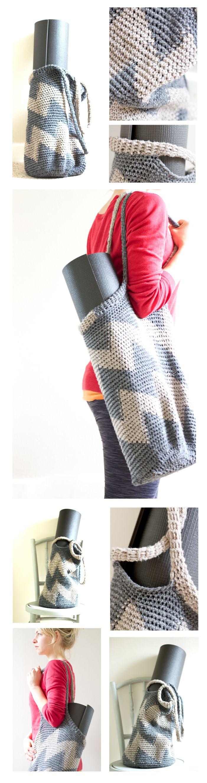 Crochet yoga bag pattern: Chevron Patterns, Bags Tutorials, Free Pattern, Bags Crochet, Chevron Bags, Crochet Bag Patterns, Bags Patterns, Yoga Bag, Crochet Patterns