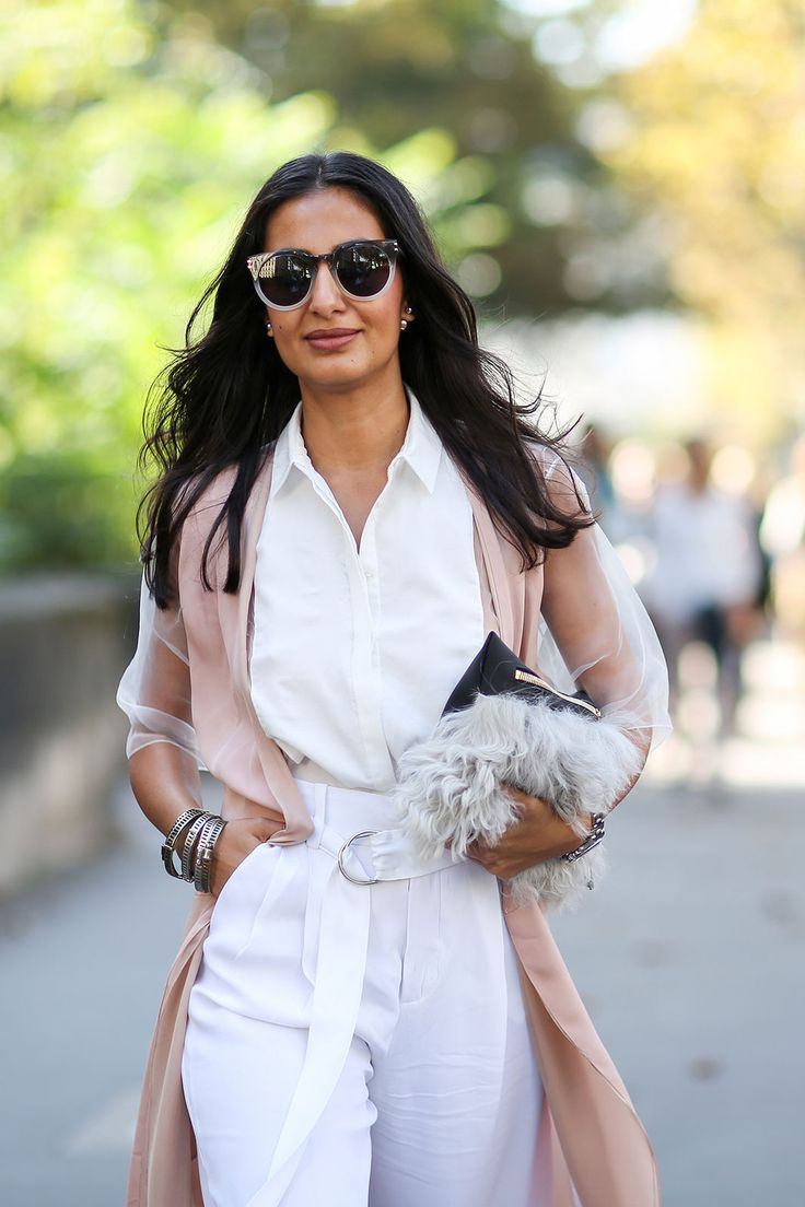 80 French Style Lessons To Learn Now #refinery29 http://www.refinery29.com/2014/10/75565/paris-street-style-photos-fashion-week-2014#slide31 Do: Add neutrals to white.