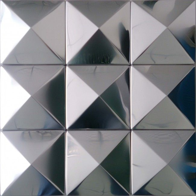 Tst Pyramid Metal Tiles Silver Glossy Mosaic Tiles Awesomedecorative Wall Tiles Design Metal Mosaic Wall Wall Tiles Design Mosaic Wall Tiles