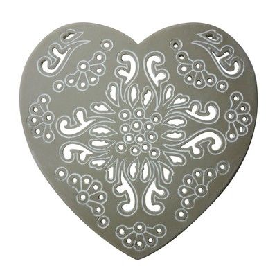Set of 4 Grey Etched Heart Coasters