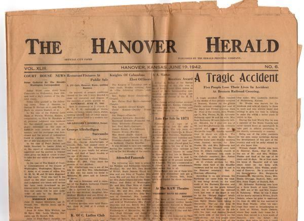 Vintage Hanover Kansas Newspaper The Hanover Herald June 19 1942