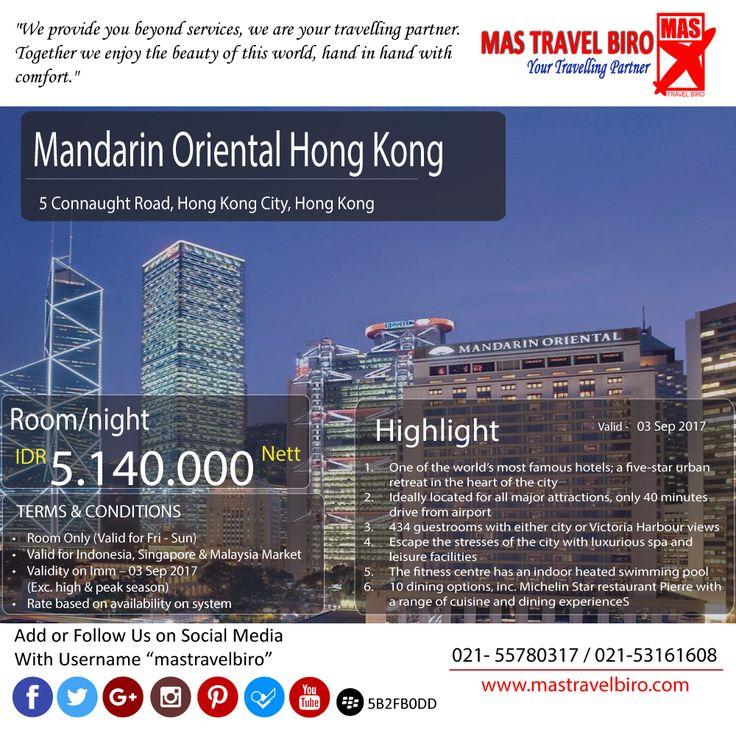 """Promo hotel """"Mandarin Oriental Hong Kong"""" , denga harga Rp  5.140.000 Nett/permalam. Info lebih lanjut, hanya ada di Mas Travel Biro."""