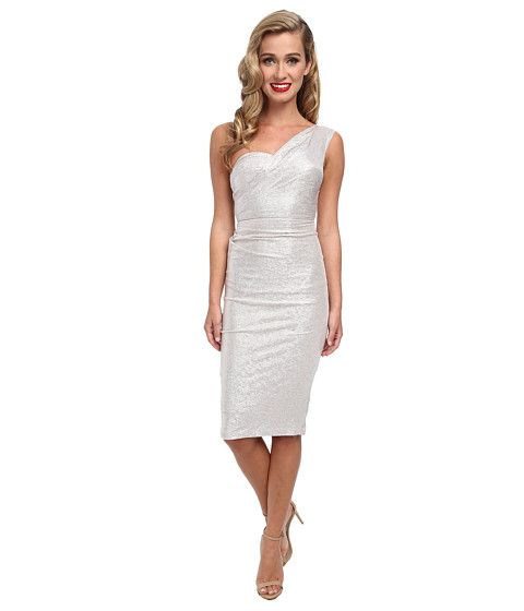 Stop Staring! One Shoulder Silver Metalic Dress Silver - 6pm.com