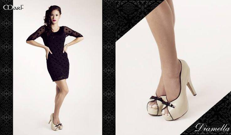 Zapatos MARF : Modelo Diamella  ostra y negro