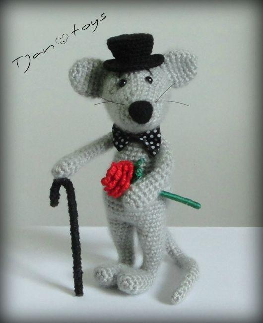 Mouse Dandy :) Soft toy decor, Crochet Handmade, OOAK, Stuffed Animals, Amigurumi. Made to order