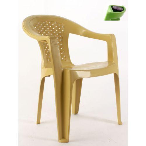 Hasırlı kollu plastik sandalye krem