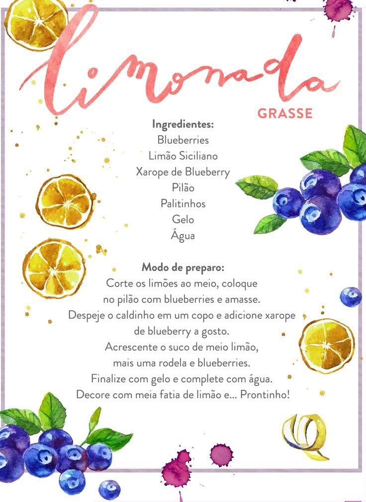 O Westwing traz receitas de limonadas diferentes, como a Grasse - que leva blueberries e limão-siciliano na preparação.