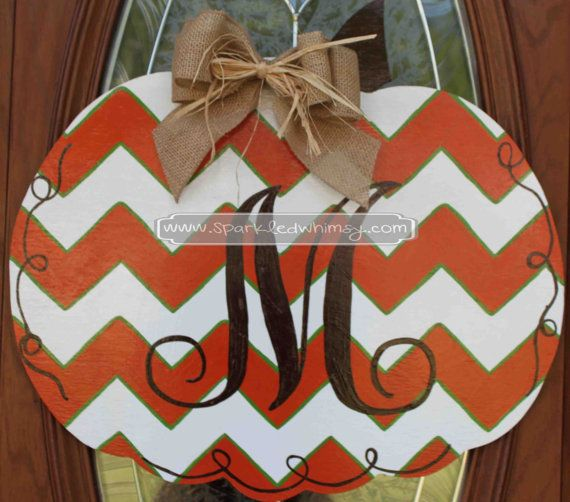 Monogrammed Chevron Pumpkin Fall Door Hanger Sign on Etsy, $40.00