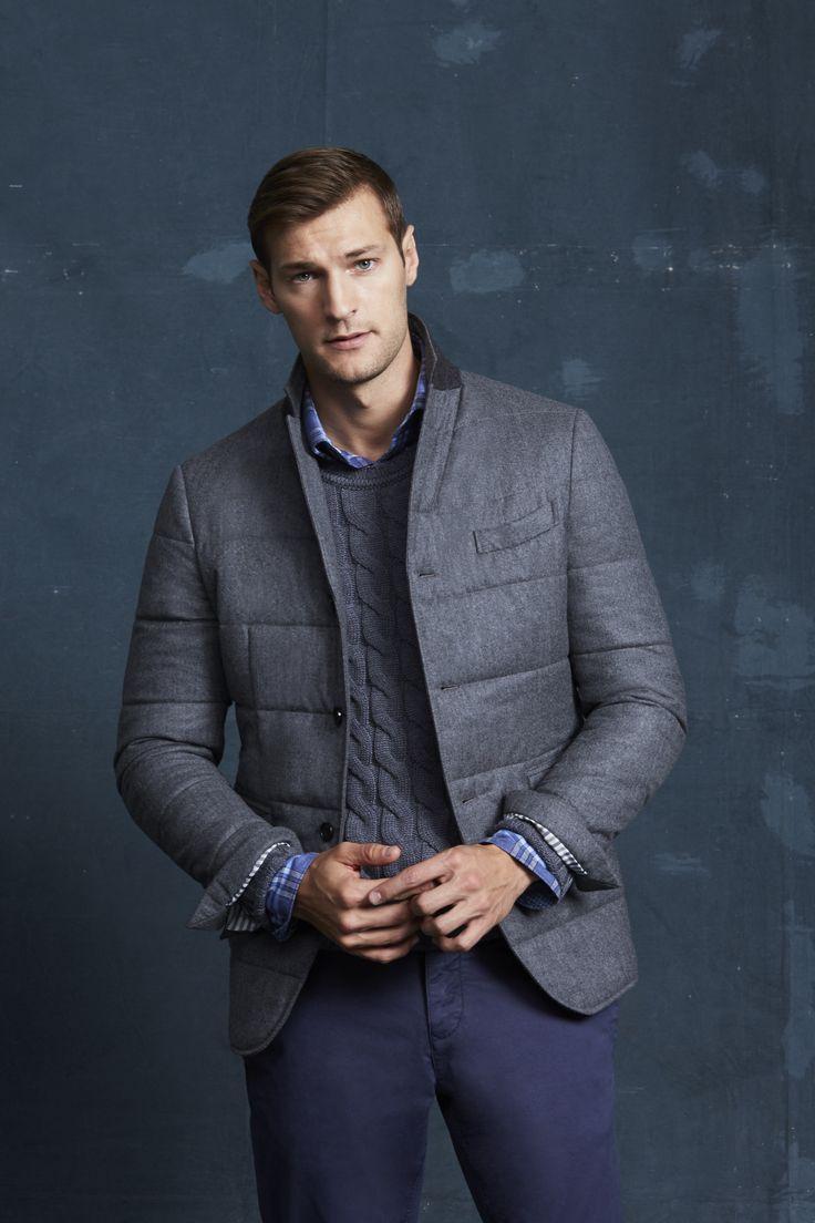 Devereaux Grey Jacket; Beuler Grey Sweater; Camus Navy Shirt; Navy Linwood Chino