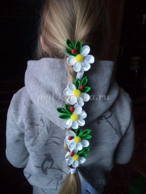 Лента для косы с цветами канзаши. Мастер-класс с пошаговым фото.