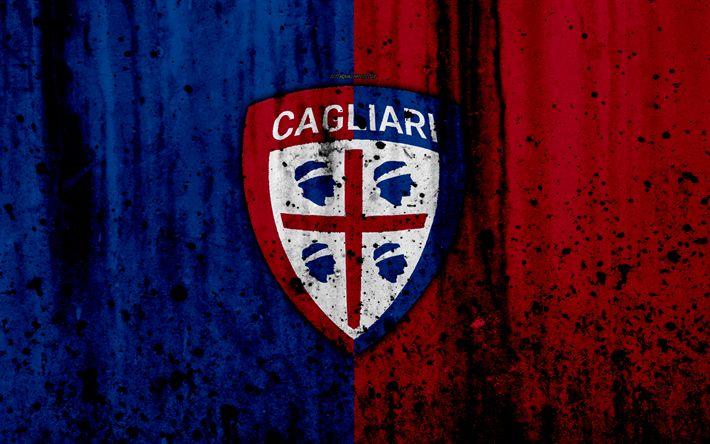 Download wallpapers FC Cagliari, 4k, logo, Serie A, stone texture, Cagliari, grunge, soccer, football club, Cagliari FC