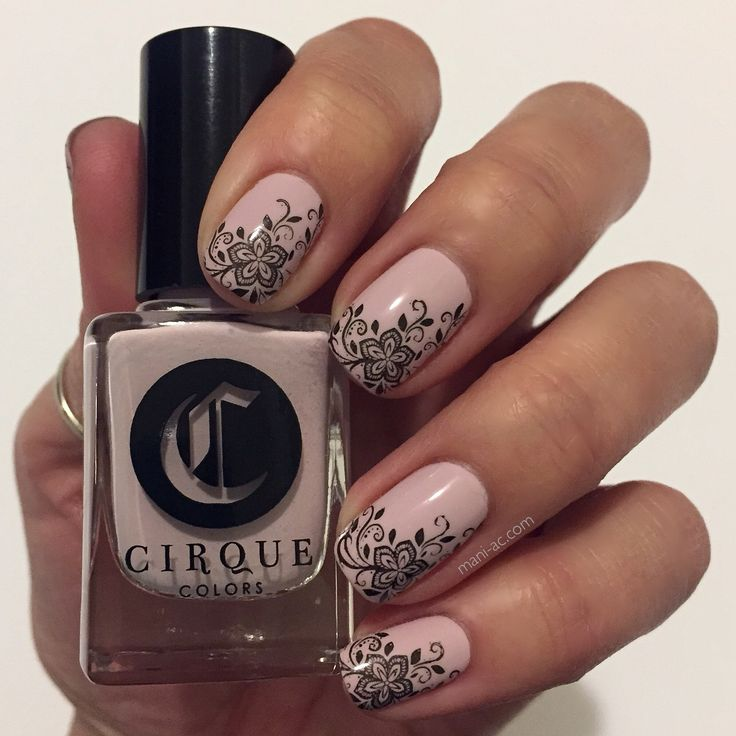 Delicate stamped mani: Cirque Colors - Whitney, A England - Bridal Veil, Bundle Monster Plate - XL206, Seche Vite - Dry Fast Top Coat