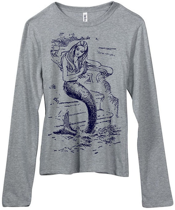 vintage design MERMAID long sleeve heather grey women's t-shirt - don't like the shirt bt like the print