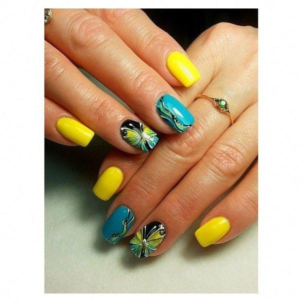 Beautiful nails 2016, Black shellac, Bright gel polish for nails, Butterfly nail art, Butterfly nails, Drawings on nails, Nails ideas 2016, Shellac nails 2016