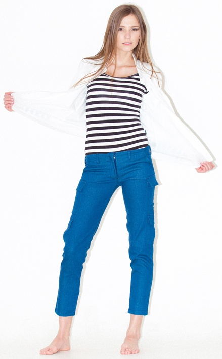 striped body stocking skinny cargos -HOT international trend: skinny cargo is a MUST HAVE this season, buckle detail at back: back has extra height, cargo pockets on thigh and knee with buckle detailing, tapers at ankle