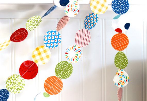Fabric Garland Primary Colors Red, Blue, Yellow, Green, circle garland, circus party decor, playroom/bedroom/nursery decor 6 feet on Etsy, $12.00