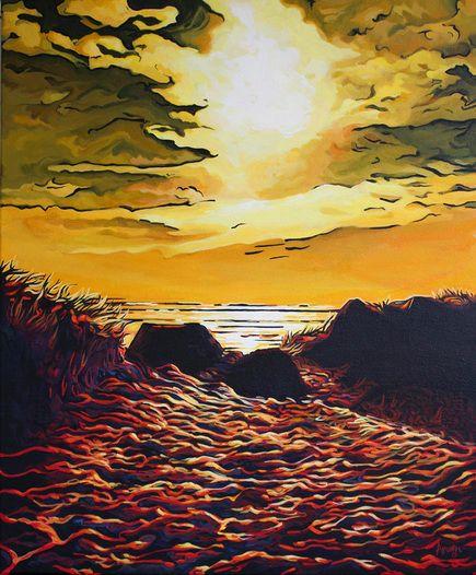 Into the sun (Muriwai), 505mm x 610mm, by Arwen Flowers at www.kiwiartist.com (New Zealand artist)