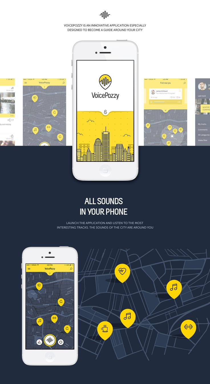 voicepozzy is an innovative application especially designed to become a guide around your city or even the world for you and other people who love to share - App Design Ideas