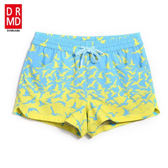 Lady shorts de conseil courtes maillots de bain bande dessinée d'oiseau parttern sexy à séchage rapide femelle shorts de course joggeurs conseil shorts sueur
