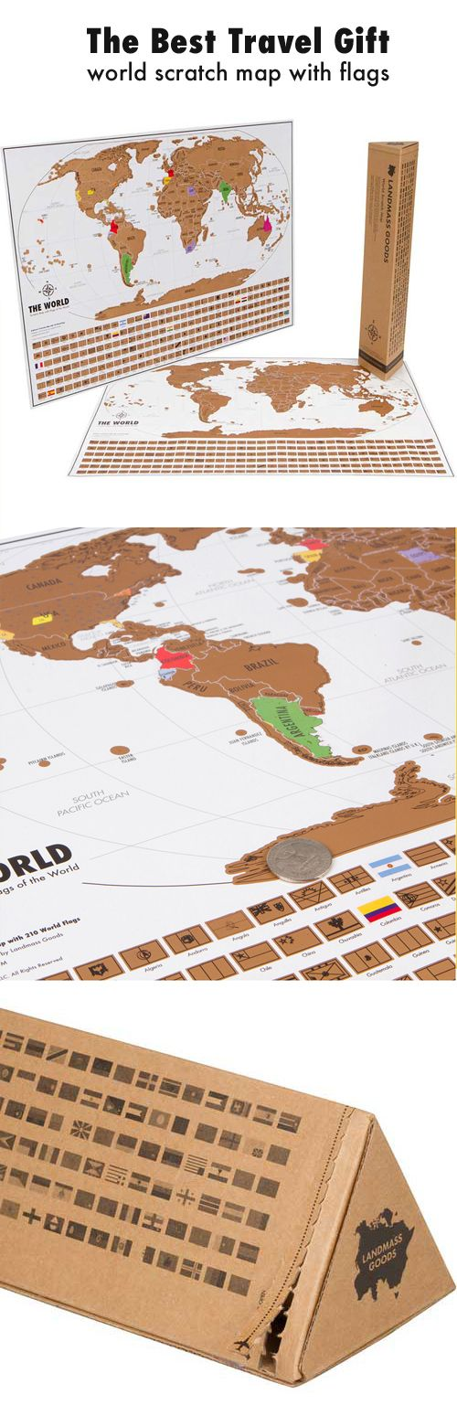 Free USA shipping Landmass's World Travel Tracker Map™ - Scratch off where you've been! Scratch off where you've been and plan your next trip! The Landmass Goods world scratch map has a gold top foil