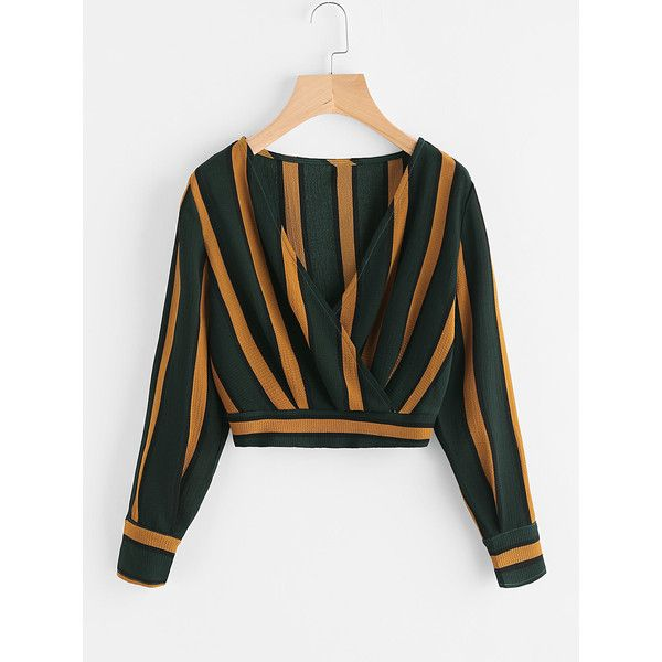 V Neckline Striped Surplice Crop Top (29 BRL) ❤ liked on Polyvore featuring tops, multicolor, surplice crop top, long sleeve wrap top, crop tops, wrap top and collared crop top