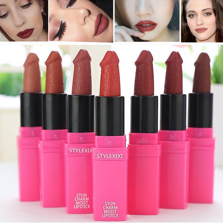 11.11 Promosi Profesional Pigmen Matt Lip Makeup Tahan Lama 7 Warna Sexy Bentuk Anggur Merah Coklat Lipstik Matte cosmeticos