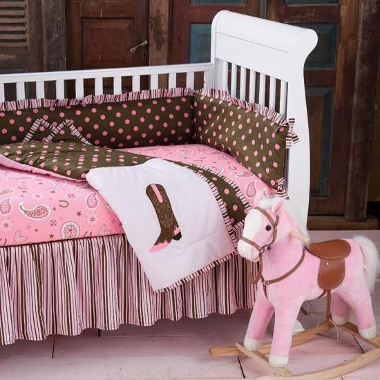 NEW Baby Kid Childs Infant PINK CRIB BEDDING Sheet SET WESTERN COWGIRL Nursery