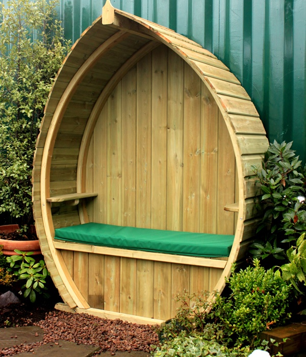 Boat Shaped Garden Arbour With Built In Storage Under The