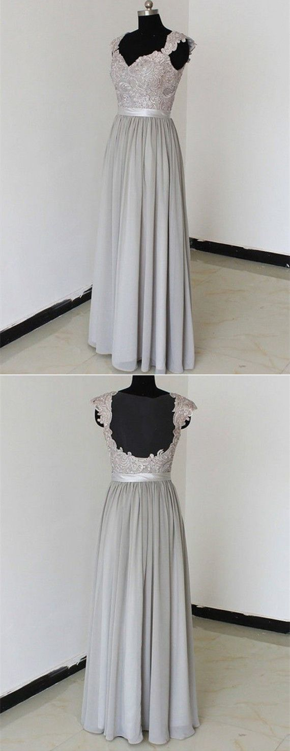Grey Bridesmaid Dresses,Long Bridesmaid Gowns, Sleeveless Bridesmaid Dresses,Chiffon Prom Dress,Backless Bridesmaid Dress,Formal Evening Dress,Lace Bridesmaid Dress
