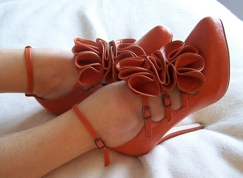 Flirty.: Fashion Shoes, Cute Shoes, Color, Burnt Orange, Red Shoes, Girls Fashion, High Heels, Girls Shoes, Ankle Straps