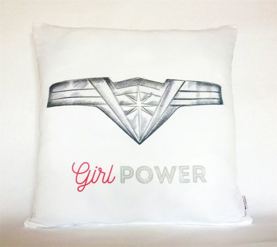 Girl Power Wonder Woman Pillow, Pillowcase, Sofa Pillow, Feminist Cushion, Feminist Decor, Pillow cover, Feminist gift